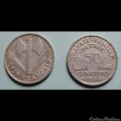 50 centimes FRANCISQUE, légère 1944
