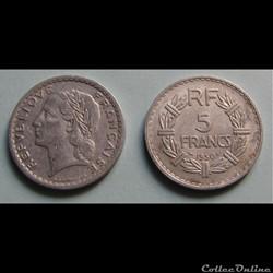 5 francs LAVRILLIER, aluminuim 1950