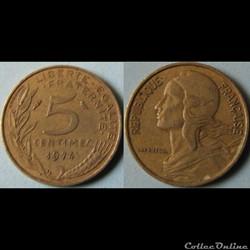 5 centimes Marianne 1974