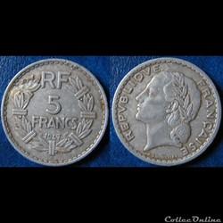 5 francs Lavrillier (aliminium, 9 ouvert...
