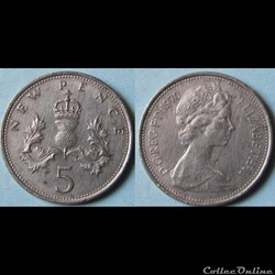 5 new pence Elizabeth II (2ème effigie) 1970