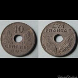 10 centimes ETAT FRANCAIS, petit module ...
