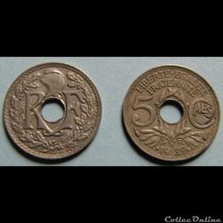 5 centimes LINDAUER, maillechort 1939