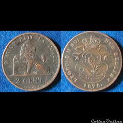 2 centimes Léopold II 1876 (fr)