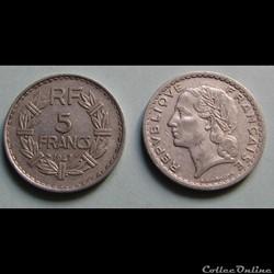 5 francs LAVRILLIER (aluminium, 9 ouvert...