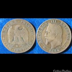 5 centimes Napoléon III (tête laurée) 1864 K
