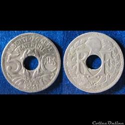5 centimes Lindauer (petit module) 1921