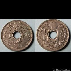 5 centimes LINDAUER, maillechort 1938