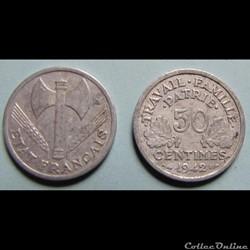 50 centimes FRANCISQUE, lourde 1942