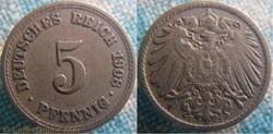 5 pfennig 1908 F