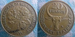 4 Ariary - 20 Francs 1970