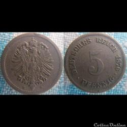 5 pfennig 1876 D