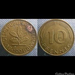 10 Pfennig 1991 D