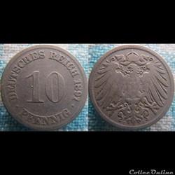 10 pfennig 1891 D