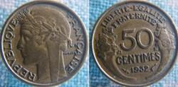 50 Centimes 1932 - 9 et 2 ouverts sans r...