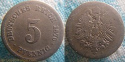 5 pfennig 1876 J