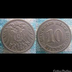 10 pfennig 1890 J