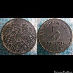 5 pfennig 1919 F