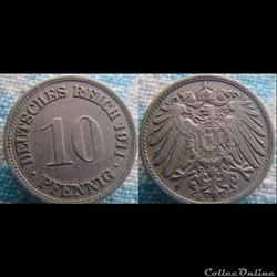 10 pfennig 1911 F