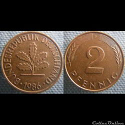 2 Pfennig 1986 F