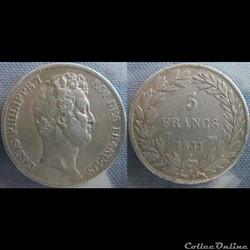 5 Francs 1831 T - tranche en creux