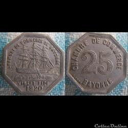 25 Centimes 1920 chambre de commerce de Bayonne