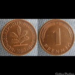 1 pfennig 1989 J