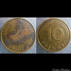 10 Pfennig 1992 F