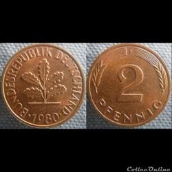 2 Pfennig 1980 F