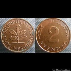 2 Pfennig 1988 F