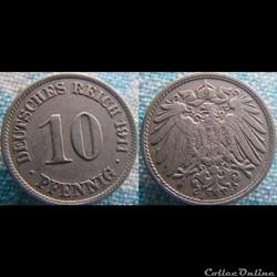 10 pfennig 1911 J