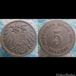 5 pfennig 1899 A