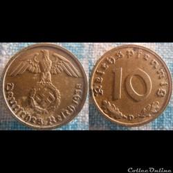 10 Reichspfennig 1938 D
