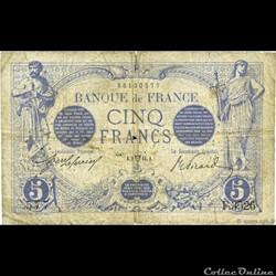 5 francs CHAZAL & DUVAL (1912 - 1917)