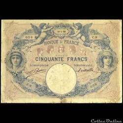 50 francs Bleu & Rose - 1889