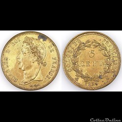 5 CENT. CHARLES X 1829 A - tranche lisse