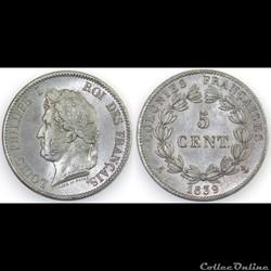 5 CENT. LOUIS-PHILIPPE I 1839 A - ESSAI ...