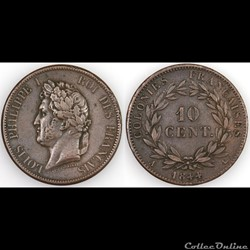 10 CENT. LOUIS-PHILIPPE I 1844 A