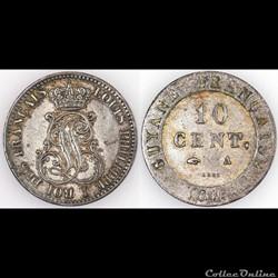 10 CENT. GUYANE FRANCAISE 1846 A