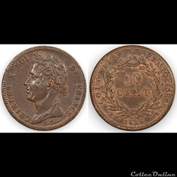 10 CENT. CHARLES X 1828 A