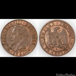 1 Centimes Napoleon III tête laurée