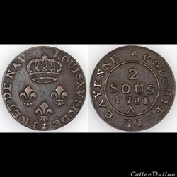 2 SOUS DE CAYENNE 1781 A