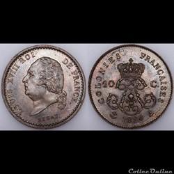 10 C. LOUIS XVIII 1824 A - ESSAI PIEFORT...