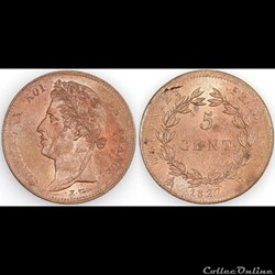 5 CENT. CHARLES X 1827 H