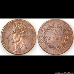 5 CENT. CHARLES X 1825 A