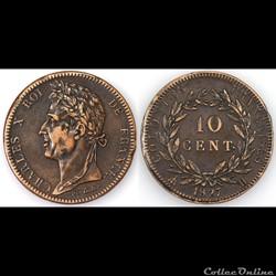 10 CENT. CHARLES X 1827 H