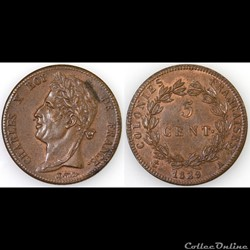 5 CENT. CHARLES X 1829 A