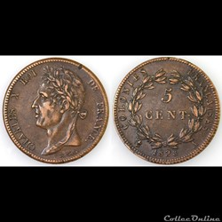 5 CENT. CHARLES X 1828 A