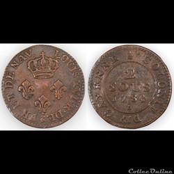 2 SOUS DE CAYENNE 1789 A