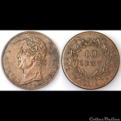 10 CENT. CHARLES X 1825 A